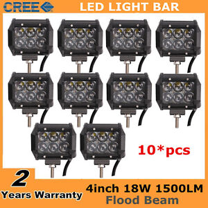 10x 18w Led 4inch Work Light Off Road Flood Driving Suv Ute For 4d Optical Truck