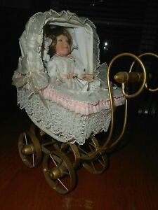 Vintage Baby Doll Carriage Porcelain Doll 1999 Signed Wicker Metal Carriage