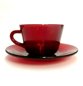Vintage Ruby Red Glass Tea Cup Saucer Set Replacement Retro Cranberry 2 Pieces