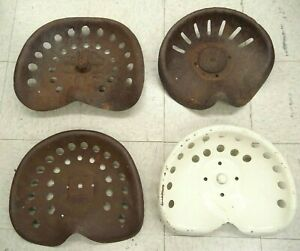 Lot Of 4 Different Antique Metal Farming Tractor Seats For Collectors Or Reuse