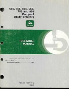 John Deere 655 755 855 756 And 856 Compact Utility Tractors Technical Manual