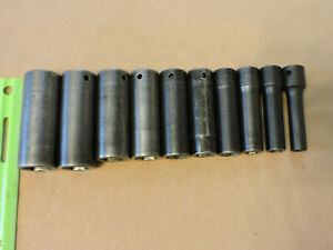 Snap On 10pc 1 2 Drive Deep Sae 6 Point Impact Socket Set 3 8 15 16