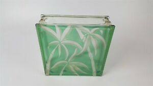 Vintage Glass Block With Etched Palm Tree Design 11 75 X 11 75