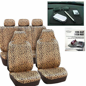 Car Seat Covers Brown Leopard Velour With Free Gift Dash Grip Pad