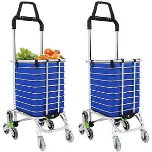 Large Capacity 8 Wheels Rolling Shopping Trolley Cart W Bag Stair New 02