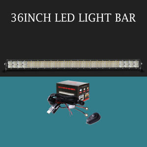 Quad Row 36inch Led Light Bars Spot Flood Combo Beam 4368w Offroad Truck Vs 4wd