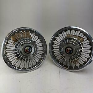 Ford Mustang Galaxie 1965 1967 Vintage Hubcaps With Spinner Wire Spoke Style