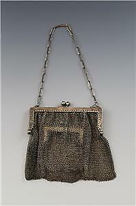 Antique C1910 Sterling Silver Chain Mail Mesh Ladies Purse W Interior Pocket