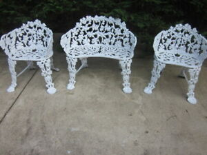 Antique Grape Wine Cast Iron Bench And 2 Arm Chairs