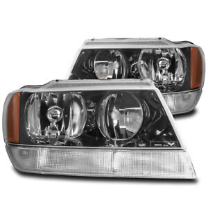 For 1999 2004 Jeep Grand Cherokee Laredo Black Replacement Headlights Lamp New