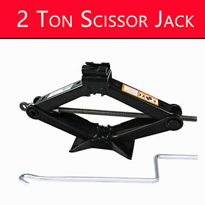 Pro Scissor Jack Emergency Wind Up Lift For Car Van Garage W Speed Handle 2 Ton