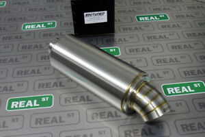 K Tuned 2 5 Center Inlet Out T304 Stainless Universal Muffler 3 5 Turndown Tip