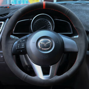 For Mazda Cx 5 Cx 3 Mazda 3 Customized Steering Wheel Cover Black Suede Leather