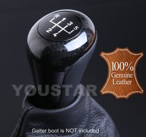 Us Stock New Italian Leather Carbon Effect Weighted 5 Speed Mt Gear Knob For Bmw