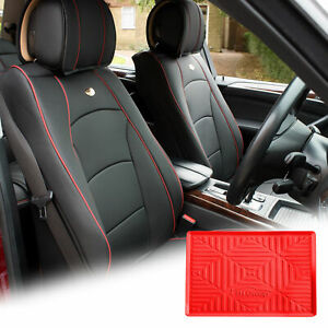Pu Leather Seat Cushion Covers Front Bucket Black W Red Dash Mat For Auto