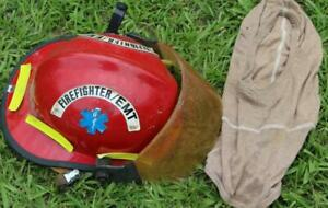 Cairns Red Fire Department Helmet With Liner Firefighter Turnout Bunker