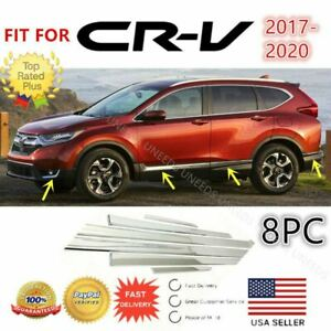 Fit For 2017 2020 Honda Crv 8pc Mirror Chrome Side Door Mouldings Trim Cover