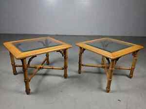 Pair Hollywood Regency Side End Tables By Lane Faux Bamboo With Inset Glass