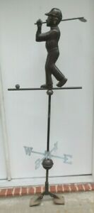Htf Vintage Copper 3 Dimensional Golfer Figure With Golf Ball Weather Vane