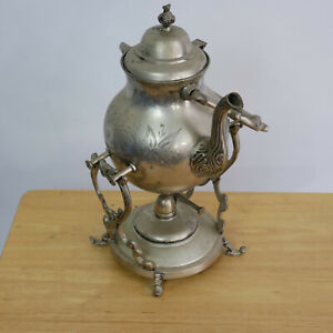 Vintage Coffee Tea Server Warmer W Stand Oil Lamp Silver Plated