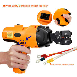 4 Dies Battery Powered Cable Crimper Wire Lug Crimping Tool 0 5 6mm2 12 Ton Us