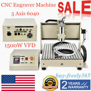 5 Axis 6040 Cnc Router Engraver Engraving Machine Metal Carving Ball Screw 1500w