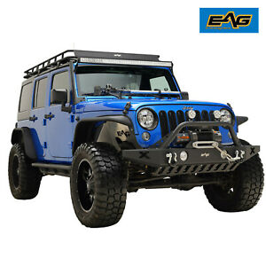 Eag Fit 07 18 Jeep Wrangler Jk Front Bumper Off road With Skid Plate