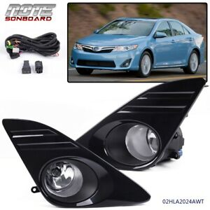 For 2012 2014 Toyota Camry L Le Xle Bumper Driving Clear Fog Light Black Cover