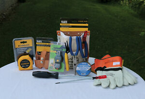 Klein Electricians Tool Kit Pliers Pouch Screwdrivers Gloves Tape Measure