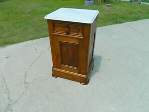 Walnut Victorian Marble Top Half Commode 1865