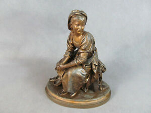C1890 Spelter Clock Topper Statue Seated Young Lady Tambourine