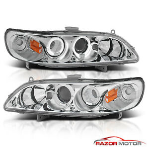 2 Led Halo For 1998 2002 Honda Accord Coupe Sedan Chrome Projector Headlights