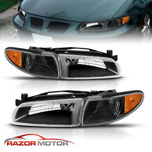 For 1997 2003 Pontiac Grand Prix Headlights Corner Signal Lights Lamps Black