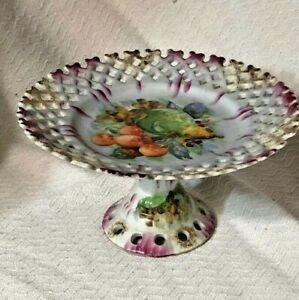 Betson S 1920 1930 Porcelain Japanese Pedestal Cake Plate W Hand Painted Fruit