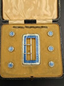 Solid Silver Enamel Georce V Belt Buckle Button Set Exquisite