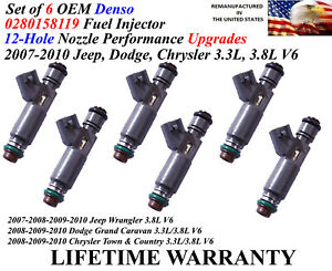 6x Oem Denso 12 hole Increased Hp Fuel Injectors For 2007 2010 Jeep Wrangler 3 8