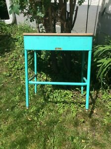Vintage Childs Aqua Norcor School Desk Green Bay Mid Century As Found