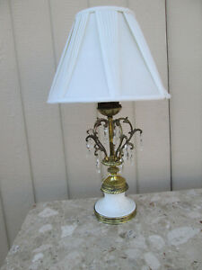 53770 Antique Cherubs Angels Bisque And Prisms Table Lamp With Shade