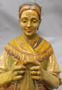 Antique Old Vintage Hand Carved Wooden Figure Woman Knitting Statue Wood Carving