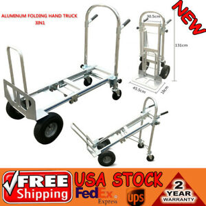 3 In 1 Aluminum Hand Truck Dolly Cart Foldable 2 Or 4 Wheel 770lbs Heavy Duty