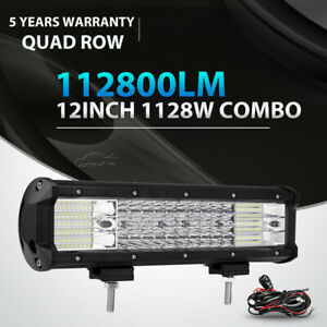 12inch 1128w Quad Row Led Light Bar Spot Flood Offroad For Jeep Truck Suv 14 15