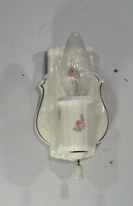 Antique Vintage Porcelain Wall Sconce Light Fixture Flowers