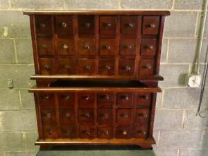 Set Of 2 Apothecary Antique Wood Cabinet 18 Drawer Collector Organizer