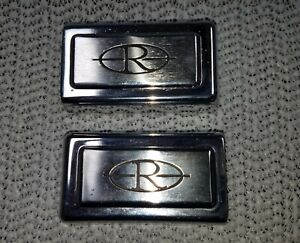 1968 69 Buick Riviera 2 Chrome Door Pull Strap Caps With r On Emblem Oem