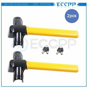 2pcs Anti Theft Security Rotary Steering Wheel Lock Top Mount For Suv Auto Car