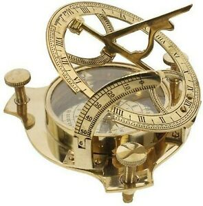 New Thorinstruments With Device 4 Sundial Compass Solid Brass Sun Dial