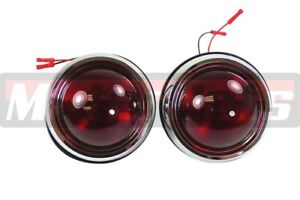 Pair 1950 Pontiac Chevy Ford Gm Tail Brake Light Round Glass Lens Kustom Rat Rod