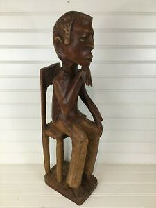 Vintage 1960 S Haitian Hand Carved Wooden Statue Of Sitting And Thinking Man