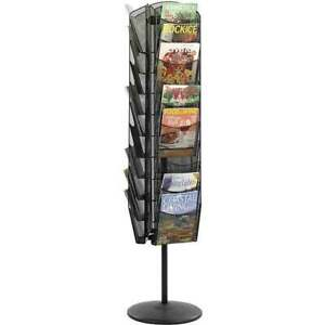 Black Mesh Magazine Rack Three Sided Rotating Magazine Stand Organizer