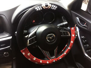 Minnie Mouse Disney Car Truck Steering Wheel Cover Red Black Fabric